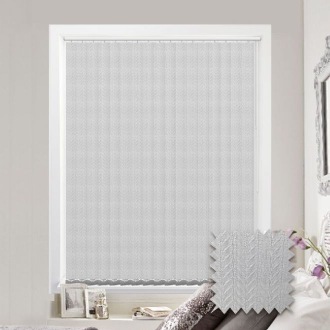 Made to measure vertical blind in Kineton White Fabric
